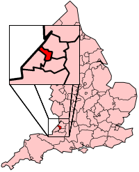 Bristol's Location within England