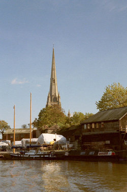 St Mary Redcliffe church and the Floating Harbour, Bristol