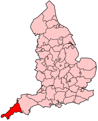 Cornwall's Location within England