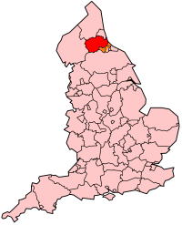 County Durham's Location within England