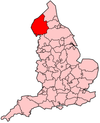 Cumbria's Location within England
