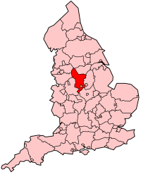 Derbyshire's Location within England