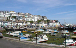 The inner harbour, Brixham, south Devon, at low tide