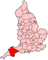 Devon's Location within England