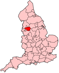 Greater Manchester's Location within England