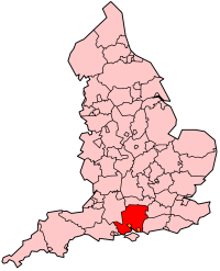 Hampshire's Location within England
