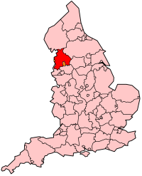 Lancashire's Location within England